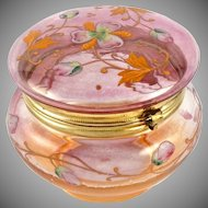 Antique Victorian Iridescent Glass Jewelry Box, Dresser Jar, Hand Painted Enamel