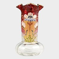 Antique French Legras Vase Rubina Cranberry Glass Hand Painted Enamel Poppy Flowers