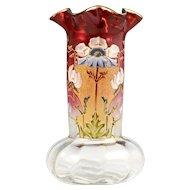 Antique French Legras Vase Rubina Cranberry Glass Hand Painted Enamel Poppy Flowers