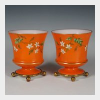 Pair French Baccarat Enamel Opaline Vases, Hand Painted Flowers, Gilt Bronze Stand