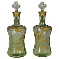 Pair Antique French Raised Gold Enamel Blown Glass Liquor Decanters