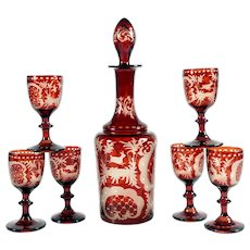 Antique Bohemian Ruby Cut to Clear Liquor Set Decanter & Cordial Glasses Engraved Hunting Hound Dogs & Hare