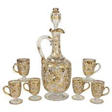 Antique Bohemian Moser Raised Gold Enamel Glass Liquor Service Decanter Cordials