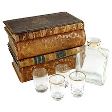 Antique French Trompe l'Oeil Books Liquor Caddy Tantalus Box, Decanter Shot Glasses Mini Bar