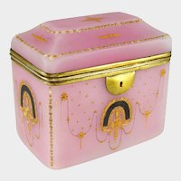 Antique French Pink Opaline Glass Raised Enamel Jewelry Box, Sugar Casket