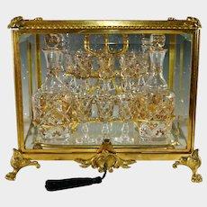 Antique French Gilt Bronze Liquor Tantalus Cabinet Caddy Box, 20pc Cut Crystal Decanter & Cordials Set