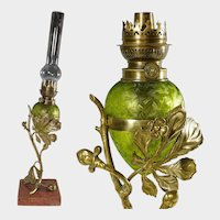Antique French Acid Etched Glass Oil Lamp Art Nouveau Bronze & Marble Stand