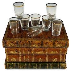 French Liquor Caddy Tantalus Box, Cordial Shot Glasses Set, Trompe l'Oeil Books Hidden Mini Bar