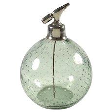 Vintage Czech Controlled Bubble Smoky Gray Art Glass Vanity Atomizer Perfume Bottle