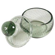Vintage Czech Controlled Bubble Smoky Gray Art Glass Vanity Dresser Powder Jar, Trinket Box