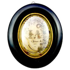 Large Antique French Napoleon III Sentimental Mourning Hair Art Memento, Dated 1895