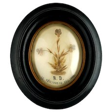 Antique French Mourning Hair Art of a Child, Floral Hairwork, Oval Frame, Victorian Relic