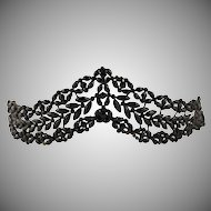 Antique Victorian Black Mourning Tiara, Diadem, French Jet Glass Beads, Hair Ornament Accessory