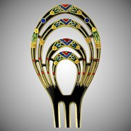 Art Deco Egyptian Revival Hair Comb Lotus / Papyrus Motif Multi Colored Rhinestones Celluloid King Tut Hair Ornament