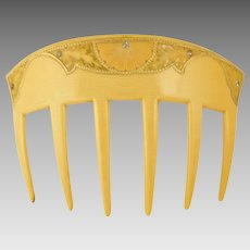 Art Nouveau Hair Comb French Ivory Celluloid, Jeweled Rhinestones