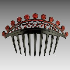 Art Deco Black Celluloid Jeweled Hair Comb, Red Rhinestones, Ornament, Accessory