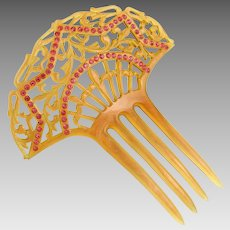 Art Deco Jeweled Moiré Celluloid Spanish style Hair Comb Pink Rhinestones