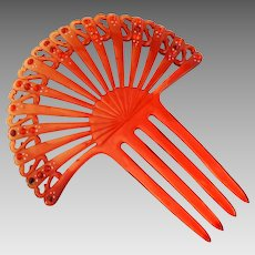 Art Deco Red Celluloid Hair Comb Jeweled Rhinestones Spanish Style Fan Shape