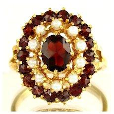 14K Gold Garnet & Cultured Pearl Ladies Cluster Cocktail Ring, Sz 9