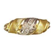 Retro Diamond 14K Yellow & White Gold Swirled Ring