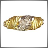 Retro Diamond 14K Yellow & White Gold Swirled Ring