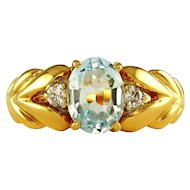 Genuine Blue Topaz & Diamond Accented 14K Gold Lady's Ring
