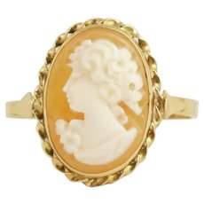 Vintage Carved Shell Cameo Ring 14k Yellow Gold Italian