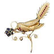 14K Yellow Gold Bird Flower Brooch   Diamond Ruby Sapphire Emerald 9.2g   Vintage Jewelry Pin