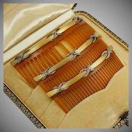 Antique French 18K Yellow Gold & Diamonds Hair Comb Trio Set Original Box