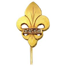 Antique French Victorian 18K Gold Diamond Fleur De Lis / Lys Stickpin Pin Brooch