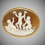 Antique Victorian Shell Cameo Brooch French 18K Gold, Hand Carved Putti Trio Scene