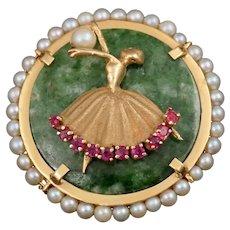 14K Gold Jade, Pearl & Natural Ruby Figural Brooch Pin, Ballerina Dancer