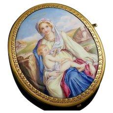 Antique French 18K Gold Enamel Miniature Portrait Brooch Pin, Madonna & Child, Virgin Mary Infant Jesus