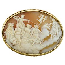Antique French 18K Gold Carved Shell Cameo Brooch Pin, Apollo & Aurora