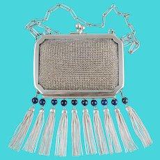 Art Deco German Sterling Silver Theodor Fahrner Chain Mail Mesh Purse, Evening Bag, Lapis Beads & Tassels