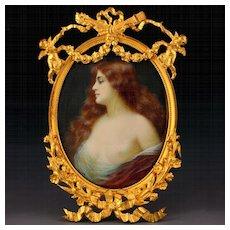 Antique Art Nouveau Hand Painted Semi-Nude Miniature Portrait Signed, Figural Cherubs Gilt Bronze Frame