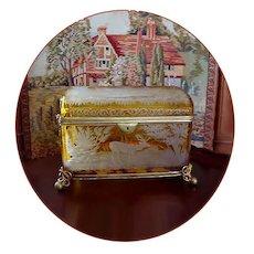 Large Antique Bohemian Intaglio Cut Amber Glass Jewelry Casket