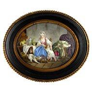 Antique French Limoges Enamel on Copper Miniature Portrait Plaque, Mother & Children, Dog