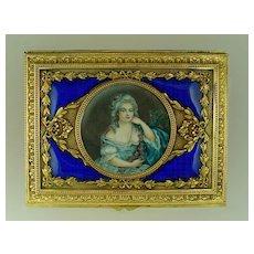 Antique French Gilt Bronze & Enamel Jewelry Casket Box Signed Miniature Portrait Painting