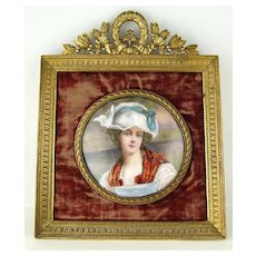Antique French Limoges Enamel Portrait Miniature in Ornate Gilt Bronze Frame