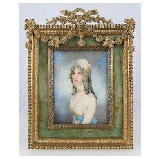Stunning 19c French Miniature Portrait Gilt Bronze Frame