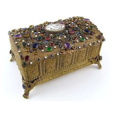 Boxed Antique Austrian Jeweled & Shell Cameo Ormolu Casket