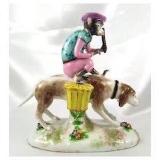 French Porcelaine De Paris Circus Monkey & Dog Figurine