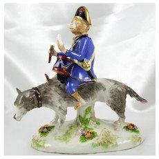 Rare French Porcelaine de Paris Circus Monkey Riding a Dog Figurine