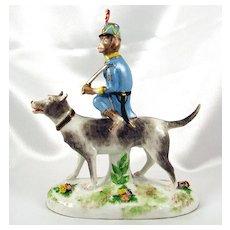 Rare Early 20thc French Porcelain de Paris Monkey Riding a Dog Figurine