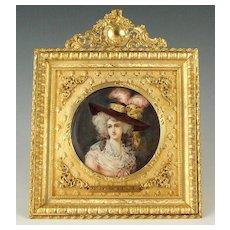 Antique French Miniature Portrait Gilt Bronze Frame Miss Halett