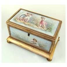 Antique French Gilt Bronze & Enamel Jewelry Casket / Box, Children at Play
