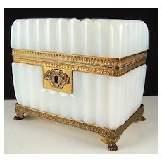 Antique French White Opaline Glass, Bulle de Savon, & Ormolu Sugar Casket