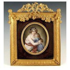 Large Antique French Miniature Portrait Ornate Gilt Bronze Frame Madame Lebrun
