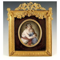Large Antique French Miniature Portrait Ornate Gilt Bronze Frame Madame Lebrun